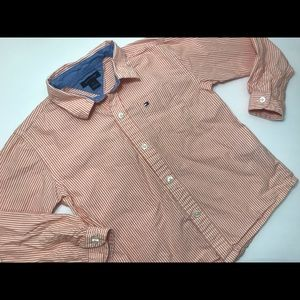 Tommy Hilfiger orange & white collared button down